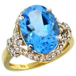 Natural 5.89 ctw swiss-blue-topaz & Diamond Engagement Ring 14K Yellow Gold - REF-88H8W