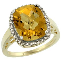 Natural 5.28 ctw Whisky-quartz & Diamond Engagement Ring 14K Yellow Gold - REF-51N3G