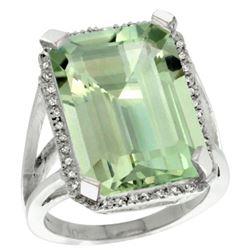 Natural 15.06 ctw green-amethyst & Diamond Engagement Ring 14K White Gold - REF-81K9R