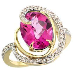 Natural 6.53 ctw pink-topaz & Diamond Engagement Ring 14K Yellow Gold - REF-72M8H