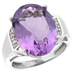 Natural 11.02 ctw Amethyst & Diamond Engagement Ring 14K White Gold - REF-65R8Z