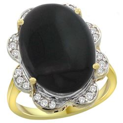 Natural 6.43 ctw onyx & Diamond Engagement Ring 14K Yellow Gold - REF-106M8H