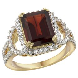 Natural 3.08 ctw garnet & Diamond Engagement Ring 14K Yellow Gold - REF-109M6H