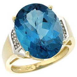 Natural 11.02 ctw London-blue-topaz & Diamond Engagement Ring 10K Yellow Gold - REF-53V5F