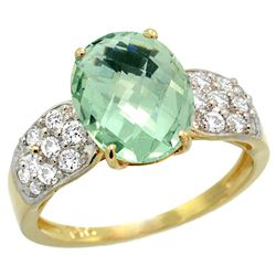 Natural 2.75 ctw green-amethyst & Diamond Engagement Ring 14K Yellow Gold - REF-58A4V