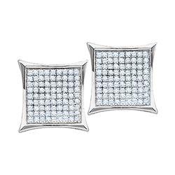 0.10 CTW Diamond Square Kite Cluster Earrings 10KT White Gold - REF-12F2N