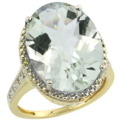 Natural 13.6 ctw Green-amethyst & Diamond Engagement Ring 14K Yellow Gold - REF-75A6V