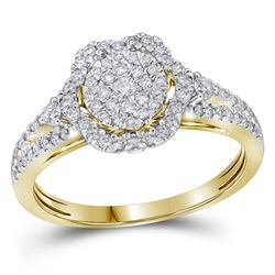 0.63 CTW Diamond Cluster Bridal Engagement Ring 14KT Yellow Gold - REF-89H9M