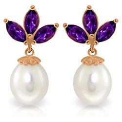 Genuine 9.5 ctw Amethyst & Pearl Earrings Jewelry 14KT Rose Gold - REF-31W2Y