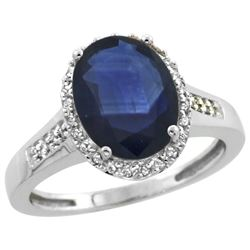 Natural 2.49 ctw Blue-sapphire & Diamond Engagement Ring 14K White Gold - REF-102Z7Y
