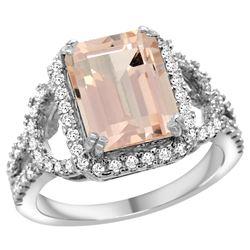 Natural 3.58 ctw morganite & Diamond Engagement Ring 14K White Gold - REF-130F2N