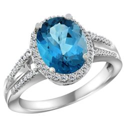 Natural 2.72 ctw london-blue-topaz & Diamond Engagement Ring 14K White Gold - REF-54G9M