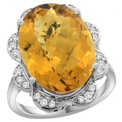 Natural 13.83 ctw quartz & Diamond Engagement Ring 14K White Gold - REF-117M6H