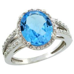 Natural 3.47 ctw Swiss-blue-topaz & Diamond Engagement Ring 14K White Gold - REF-46Z3Y