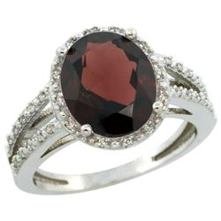 Natural 3.47 ctw Garnet & Diamond Engagement Ring 14K White Gold - REF-50M3H