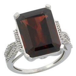 Natural 12.14 ctw Garnet & Diamond Engagement Ring 14K White Gold - REF-81X3A