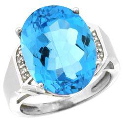 Natural 11.02 ctw Swiss-blue-topaz & Diamond Engagement Ring 10K White Gold - REF-50W9K