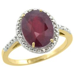 Natural 3.66 ctw Ruby & Diamond Engagement Ring 14K Yellow Gold - REF-39V7F