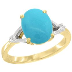 Natural 2.41 ctw Turquoise & Diamond Engagement Ring 14K Yellow Gold - REF-40G6M