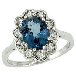 Natural 2.34 ctw London-blue-topaz & Diamond Engagement Ring 14K White Gold - REF-82R2Z