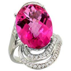 Natural 11.46 ctw Pink-topaz & Diamond Engagement Ring 14K White Gold - REF-86K6R