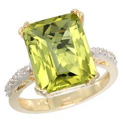 Natural 5.48 ctw Lemon-quartz & Diamond Engagement Ring 14K Yellow Gold - REF-49N7G