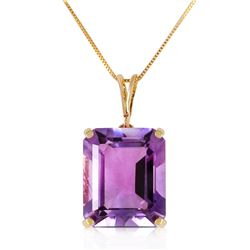 Genuine 6.5 ctw Amethyst Necklace Jewelry 14KT Yellow Gold - REF-35K2V