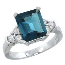 Natural 2.86 ctw london-blue-topaz & Diamond Engagement Ring 10K White Gold - REF-54V3F