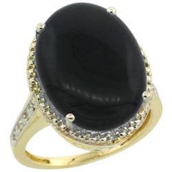 Natural 6.28 ctw Onyx & Diamond Engagement Ring 10K Yellow Gold - REF-41V6F