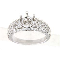 1.57 CTW Diamond Semi Mount Ring 14K White Gold - REF-128W2H