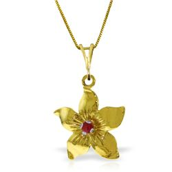 Genuine 0.10 CTW Ruby Necklace Jewelry 14KT Yellow Gold - REF-38N6R