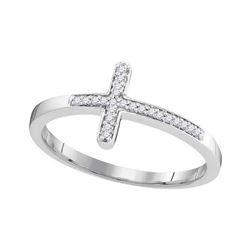 0.06 CTW Diamond Cross Ring 10KT White Gold - REF-12Y2X