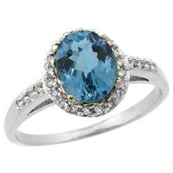 Natural 1.3 ctw London-blue-topaz & Diamond Engagement Ring 14K White Gold - REF-32N4G
