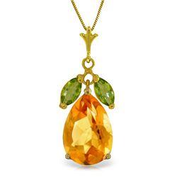 Genuine 6.5 ctw Citrine & Peridot Necklace Jewelry 14KT Yellow Gold - REF-34H6X