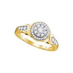 0.49 CTW Diamond Halo Bridal Engagement Ring 10KT Yellow Gold - REF-52Y4X