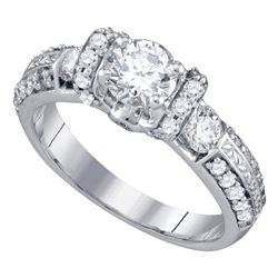 1.5 CTW Diamond Solitaire Bridal Engagement Ring 14KT White Gold - REF-375H2M