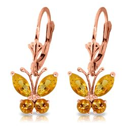 Genuine 1.24 ctw Citrine Earrings Jewelry 14KT Rose Gold - REF-38R2P