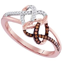 0.16 CTW Red Color Diamond Double Heart Ring 10KT Rose Gold - REF-18F2N