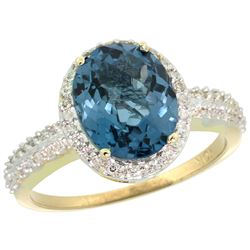 Natural 2.56 ctw London-blue-topaz & Diamond Engagement Ring 10K Yellow Gold - REF-33X6A