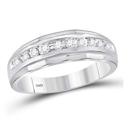 0.25 CTW Mens Diamond Single Row Grooved Wedding Ring 10KT White Gold - REF-24K2W