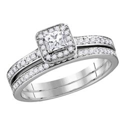0.69 CTW Princess Diamond Bridal Engagement Ring 10KT White Gold - REF-67F4N