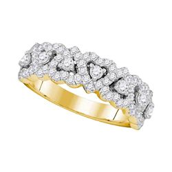 0.78 CTW Pave-set Diamond Heart Ring 14KT Yellow Gold - REF-92H9M