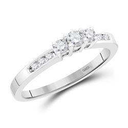 0.25 CTW Diamond 3-stone Bridal Engagement Ring 14KT White Gold - REF-30N2F