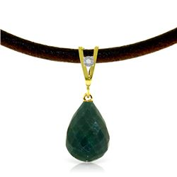 Genuine 15.51 ctw Green Sapphire Corundum & Diamond Necklace Jewelry 14KT Yellow Gold - REF-30Z2N