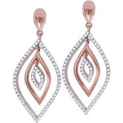 0.40 CTW Diamond Nested Oval Dangle Earrings 10KT Rose Gold - REF-41X9Y