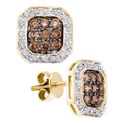 0.75 CTW Cognac-brown Color Diamond Screwback Earrings 14KT Yellow Gold - REF-64Y4X