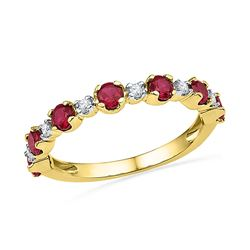1.09 CTW Created Ruby Ring 10KT Yellow Gold - REF-18Y2X