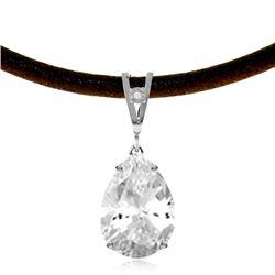Genuine 6.01 ctw White Topaz & Diamond Necklace Jewelry 14KT White Gold - REF-32W3Y