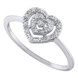 0.04 CTW Diamond Heart Cluster Ring 10KT White Gold - REF-7N4F