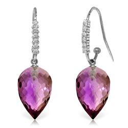 Genuine 19.18 ctw Amethyst & Diamond Earrings Jewelry 14KT White Gold - REF-52Z9N